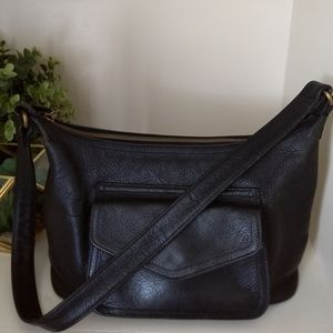 VINTAGE FOSSIL BAG Black Pebbled Leather Shoulder